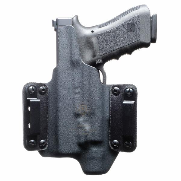 Details about  /LT BLACK CUSTOM OWB Leather Holster YOUR CHOICE:rh,lh-laser-slide-cant-belt-mag+